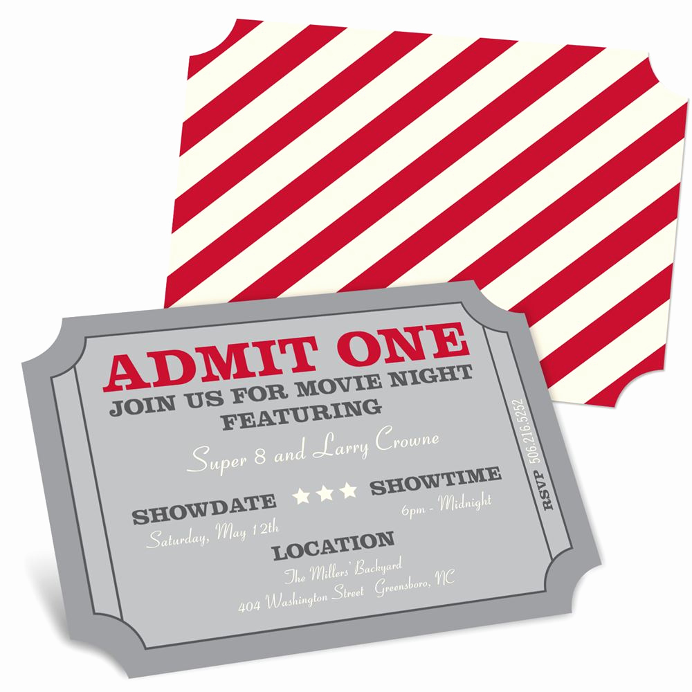 Admit One Ticket Invitation Best Of Admit E Movie Night Invitations