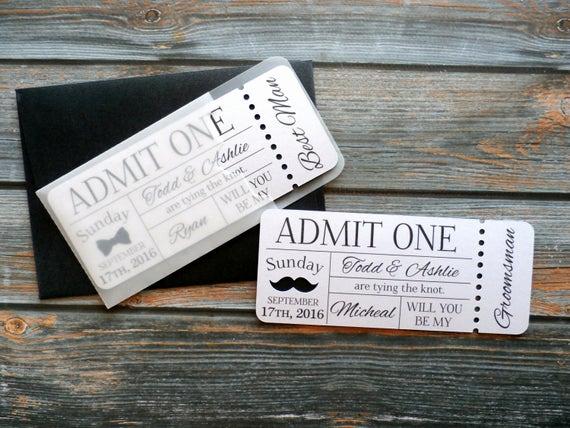 Admit One Ticket Invitation Best Of Personalized Groomsman Invitation Admit E Ticket Invite