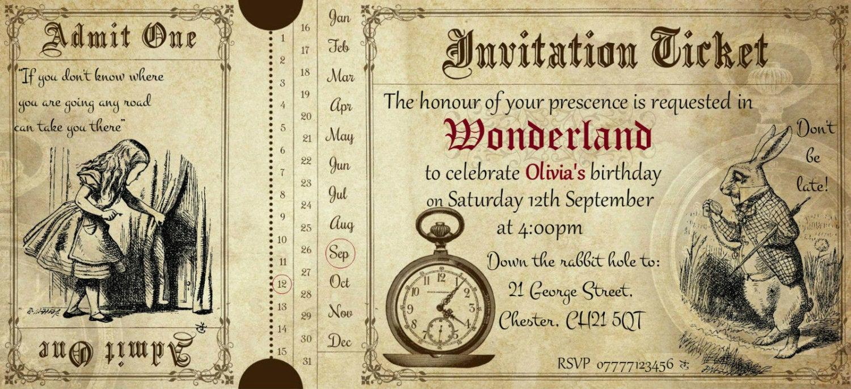Admit One Ticket Invitation Elegant 3 Personalised Alice In Wonderland Admit E Invitation