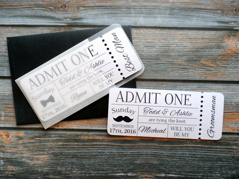 Admit One Ticket Invitation Elegant Personalized Groomsman Invitation Admit E Ticket Invite
