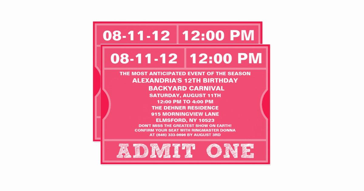 Admit One Ticket Invitation Elegant Pink Admit E Ticket Invitation Birthday Party