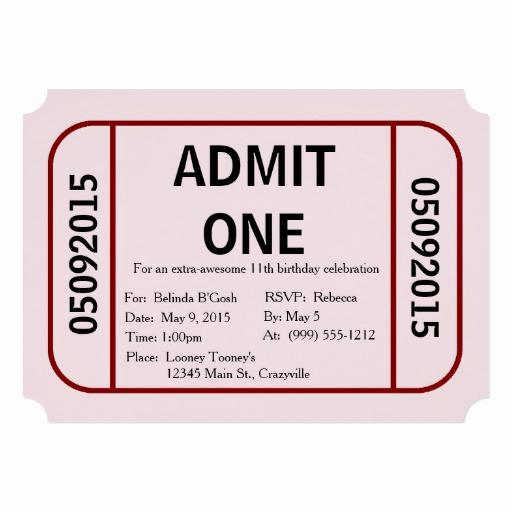 admit one ticket birthday party invitation