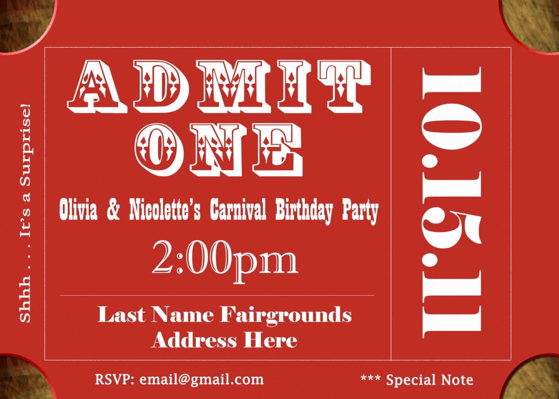 Admit One Ticket Invitation Fresh Ticket Invite Ticket Invitation Circus by Jrcreativedesigns