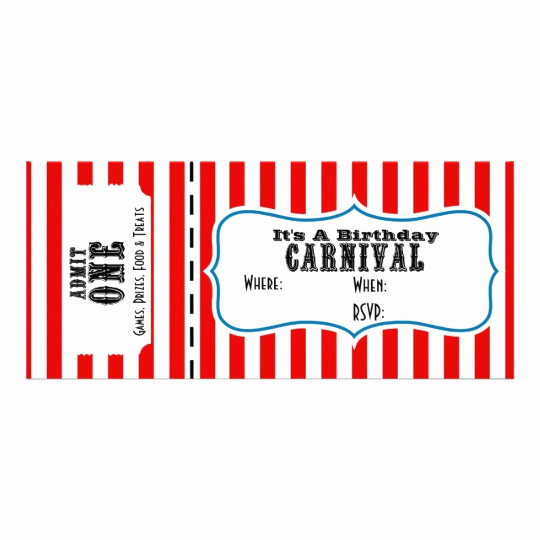 Admit One Ticket Invitation Inspirational Admit E Carnival Party Ticket Invite