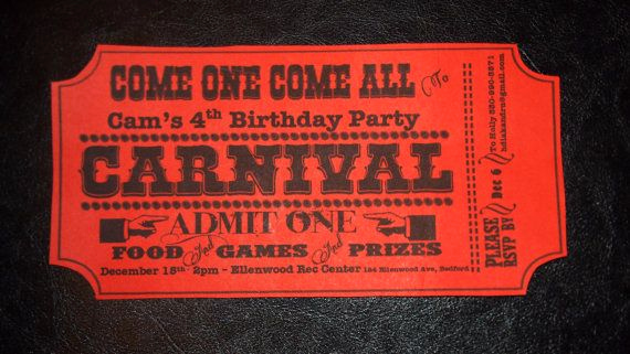Admit One Ticket Invitation Inspirational Birthday Party Invitation Carnival themed Admit E