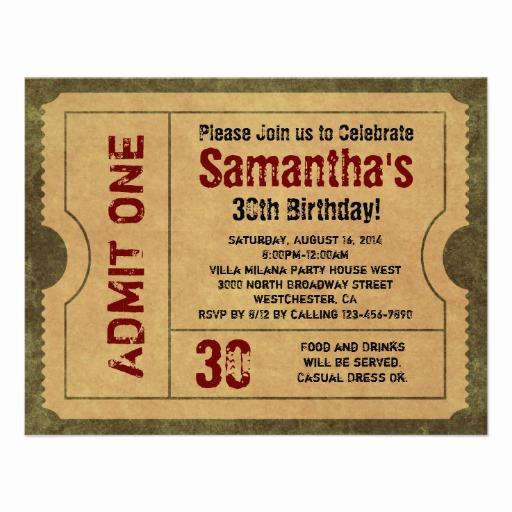 """Admit One Ticket Invitation Luxury Custom Vintage Gold Admit E Ticket Invitations 4 25"""" X 5"""
