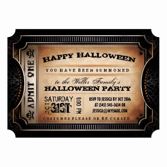 Admit One Ticket Invitation Luxury orange & Black Admit E Halloween Party Ticket Card