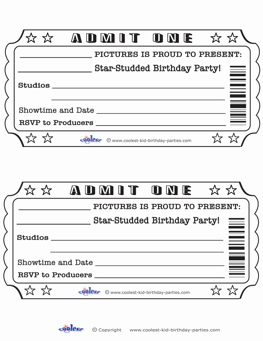 Admit One Ticket Invitation New Blank Movie Ticket Invitation Template Free Download Aashe
