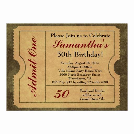Admit One Ticket Invitation New Elegant Vintage Gold Admit E Ticket Invitation Card