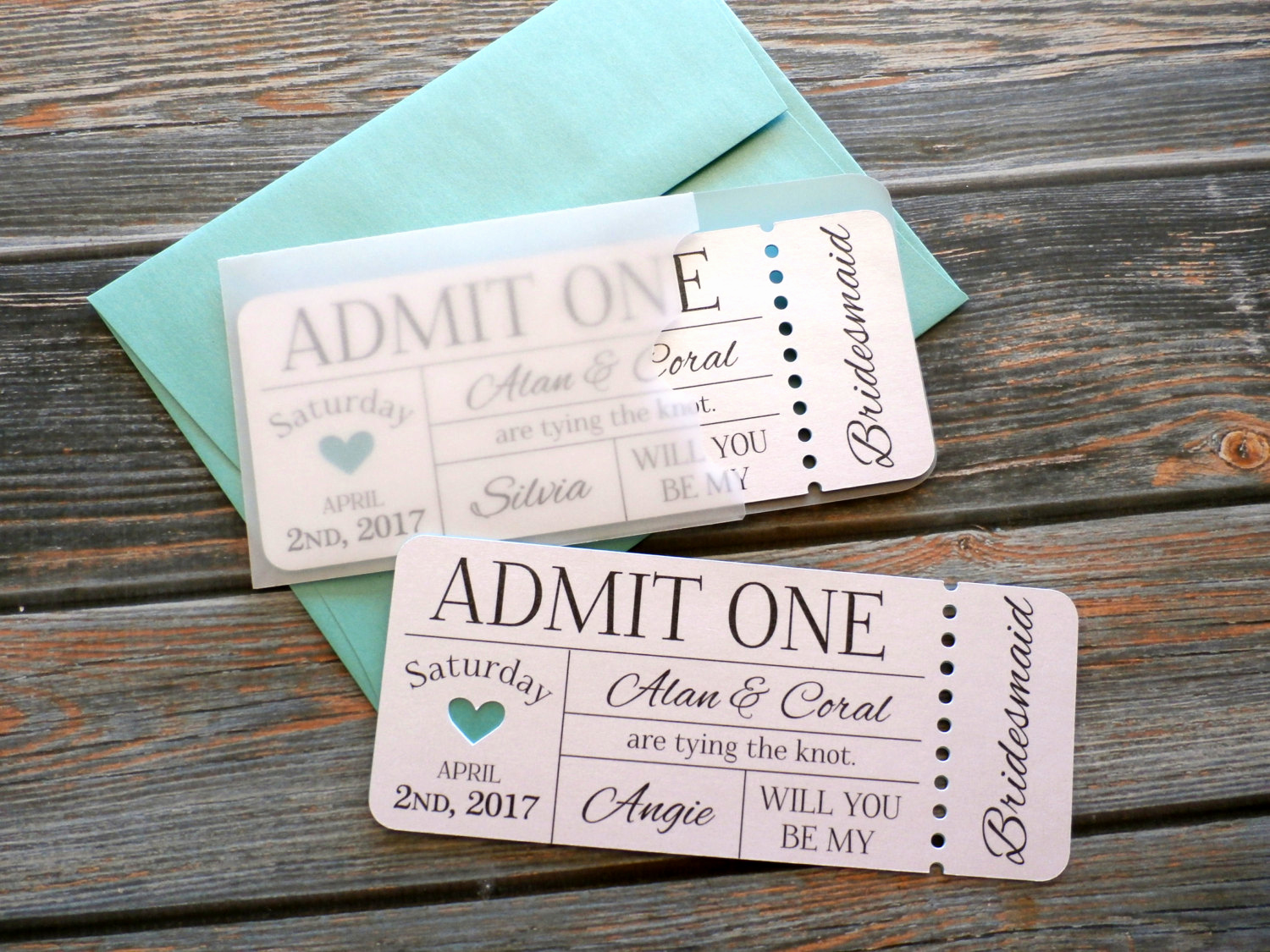 Admit One Ticket Invitation New Personalized Bridesmaid Invitation Admit E Ticket by