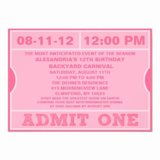 Admit One Ticket Invitation New Pink Admit E Ticket Invitation Birthday Party