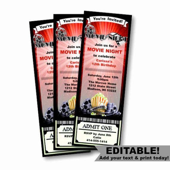 Admit One Ticket Invitation Template Fresh Movie Ticket Invitation Birthday Movie Night Red by