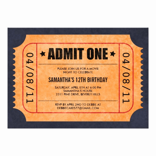 Admit One Ticket Invitation Template Fresh Movie Ticket Invitations