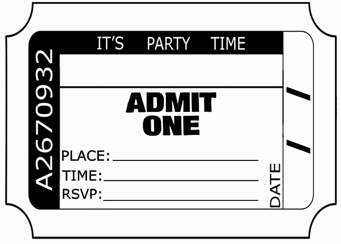 Admit One Ticket Invitation Template Lovely Admit E Ticket Template Download Clipart Best