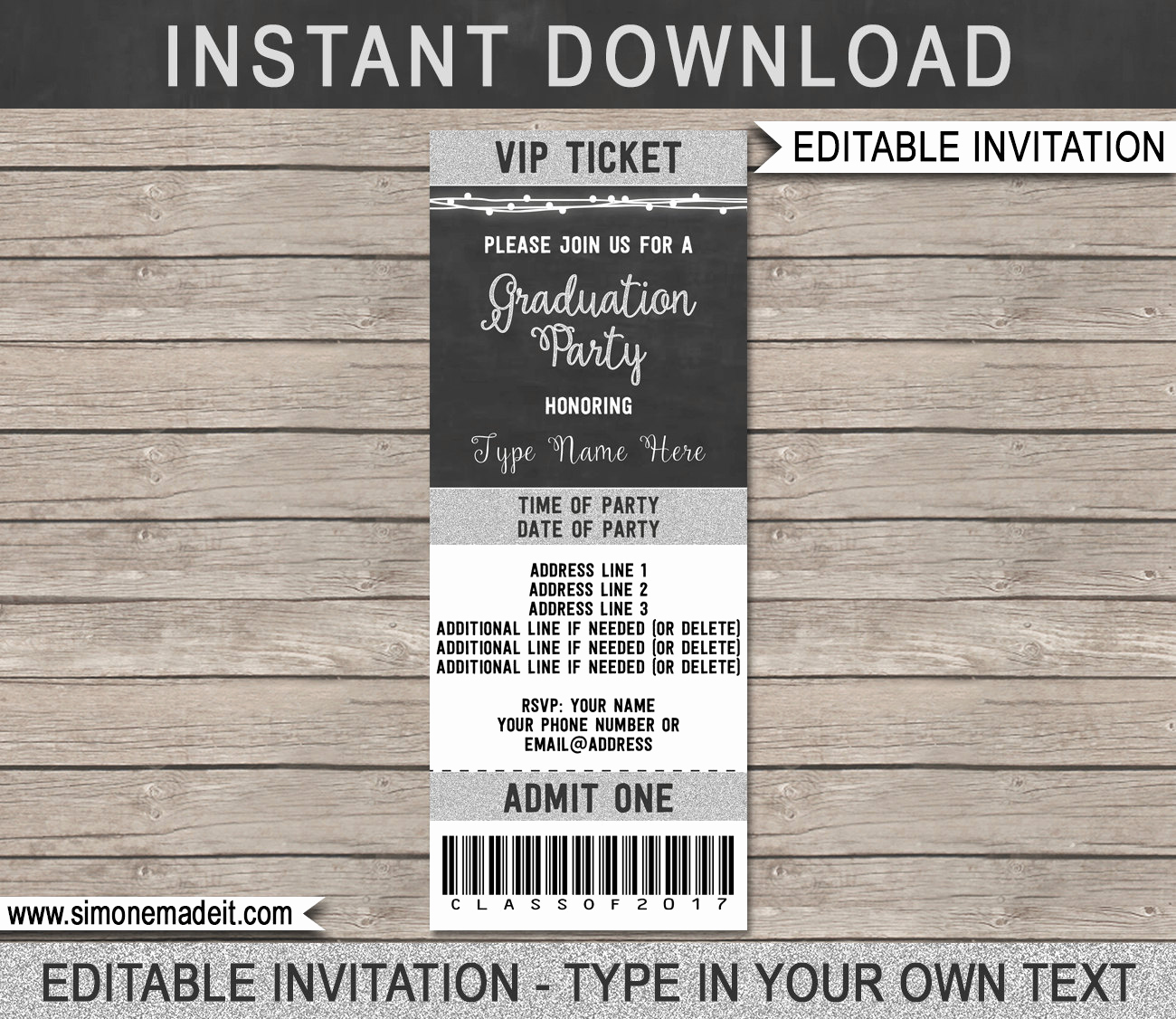 Admit One Ticket Invitation Template Lovely Graduation Ticket Invitation Template Class Of 2017 Silver