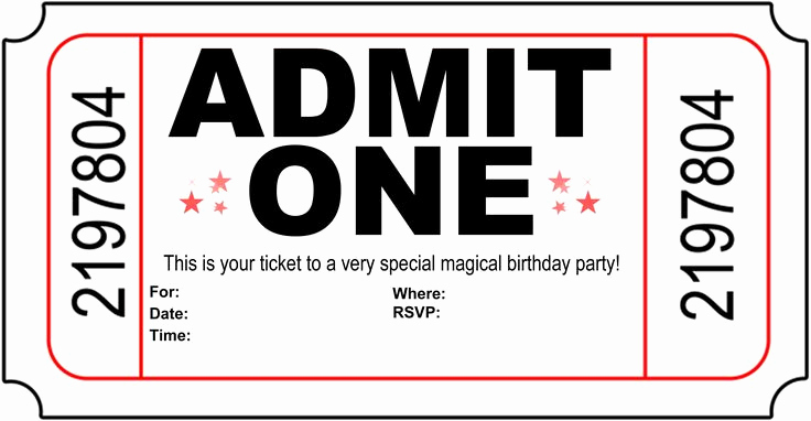 Admit One Ticket Invitation Template Luxury Free Printable Birthday Party Invitations Kansas
