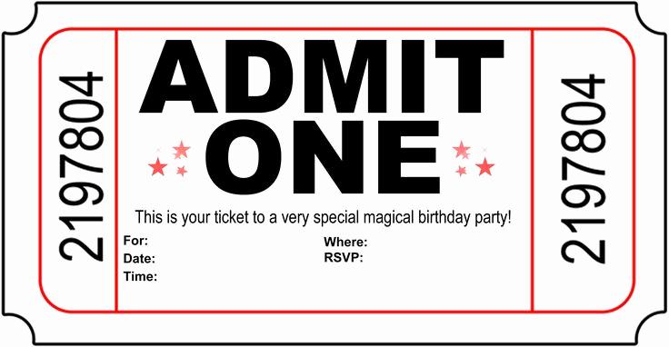 Admit One Ticket Invitation Template Luxury Free Printable Birthday Party Invitations Kansas