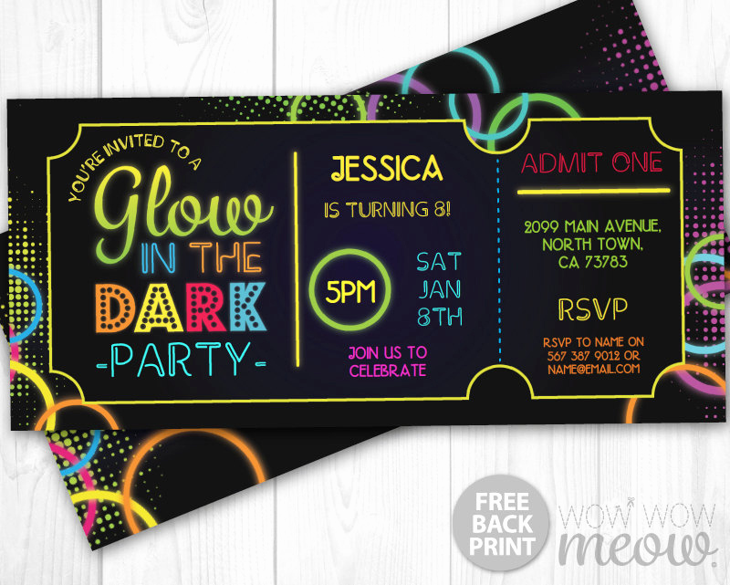 Admit One Ticket Invitation Template New Glow In the Dark Invitations Tickets Admit E Party Invite