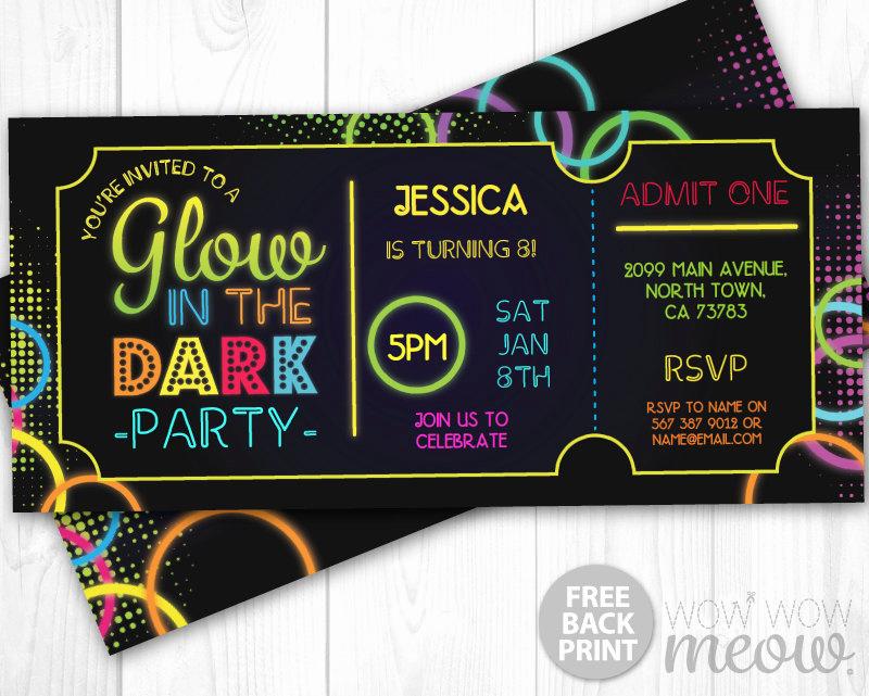 Admit One Ticket Invitation Template New Glow In the Dark Invitations Tickets Admit E Party Invite