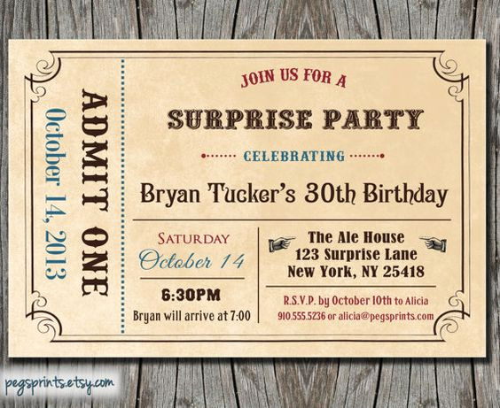 Admit One Ticket Invitation Template Unique Adult Surprise Birthday Invite Admit E Ticket Birthday