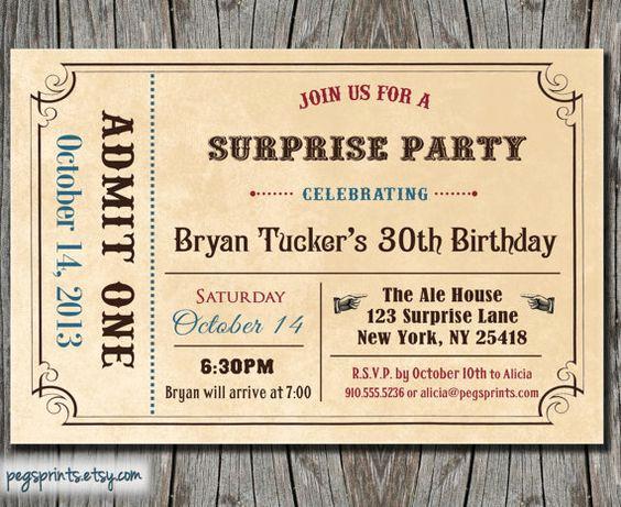 Admit One Ticket Invitation Template Unique Adult Surprise Birthday Invite Admit E Ticket Birthday