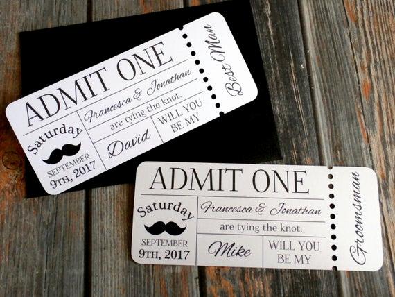 Admit One Ticket Invitation Unique Personalized Groomsman Invitation Admit E Ticket Invite