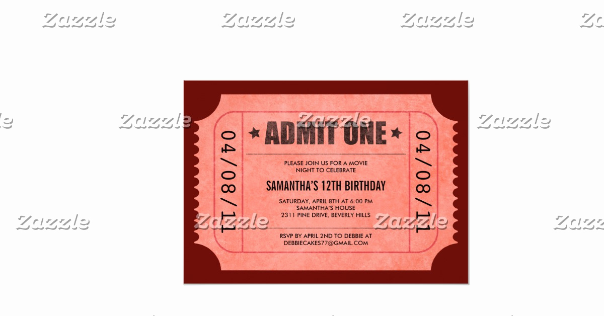 """Admit One Ticket Invitation Unique Red Admit E Ticket Invitations 5"""" X 7"""" Invitation Card"""