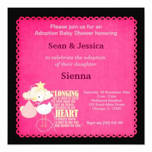 Adoption Baby Shower Invitation Wording Beautiful Adoption Baby Shower Girl Invitation