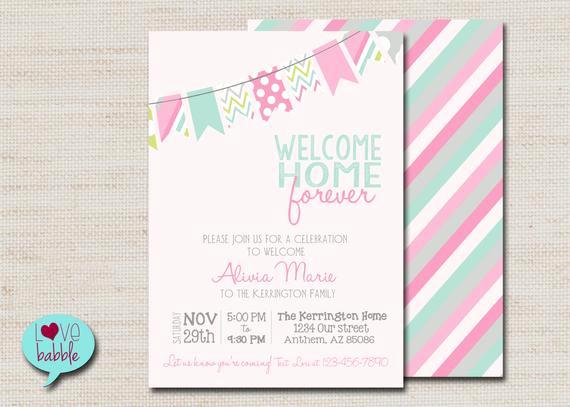 Adoption Baby Shower Invitation Wording Beautiful Baby Girl Shower Adoption Invitation Pink Mint Printable