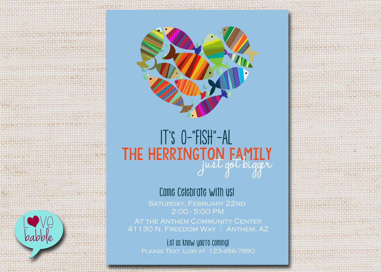 Adoption Baby Shower Invitation Wording Fresh Baby Family Shower Adoption Party Invitation Fish Blue Red