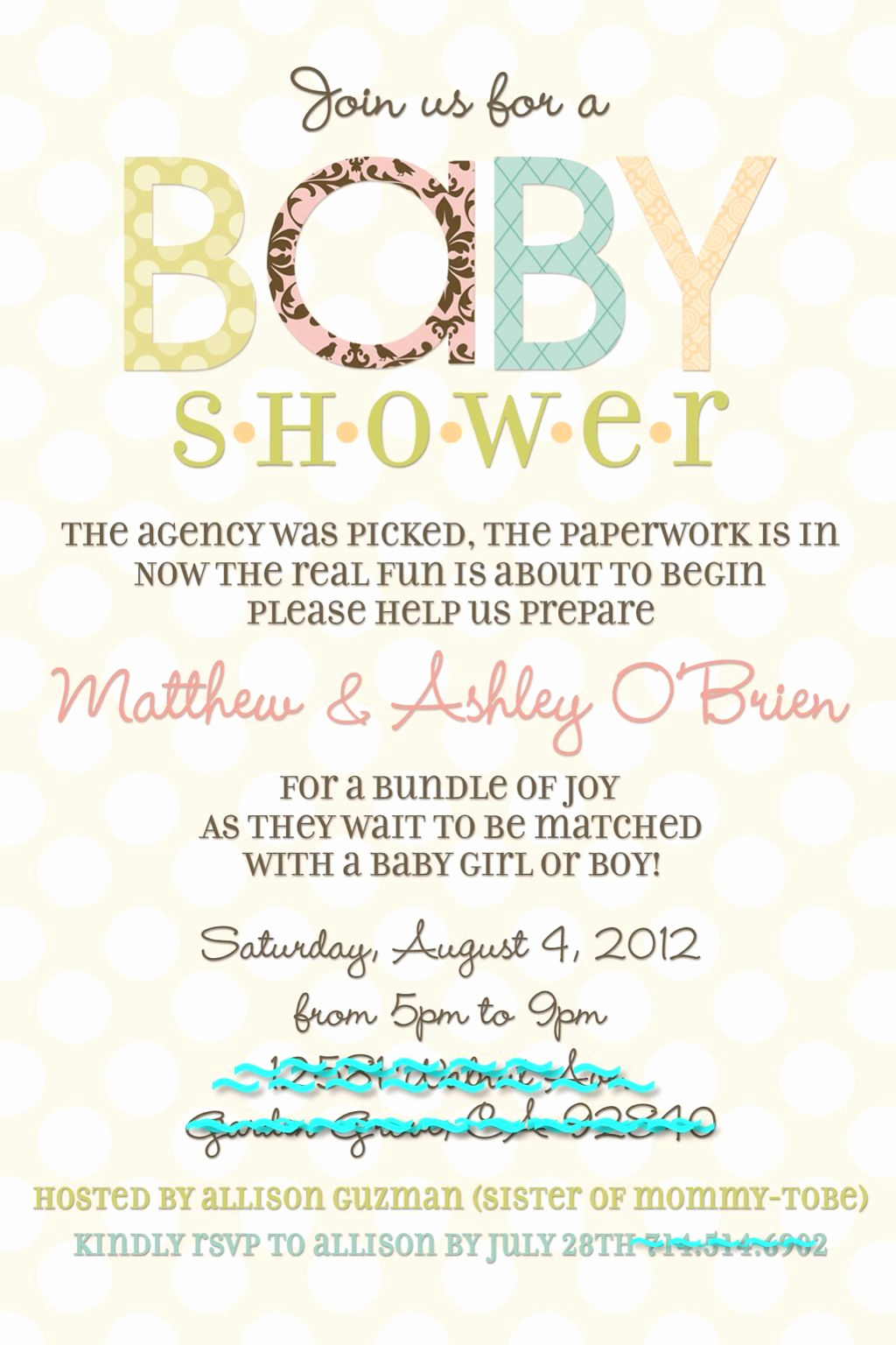 Adoption Baby Shower Invitation Wording Inspirational Adoption Baby Shower Invite Stephanie Miera Potential