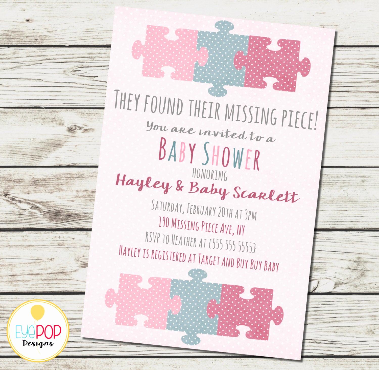 Adoption Baby Shower Invitation Wording Inspirational Missing Piece Invitation Baby Shower Girl Adoption