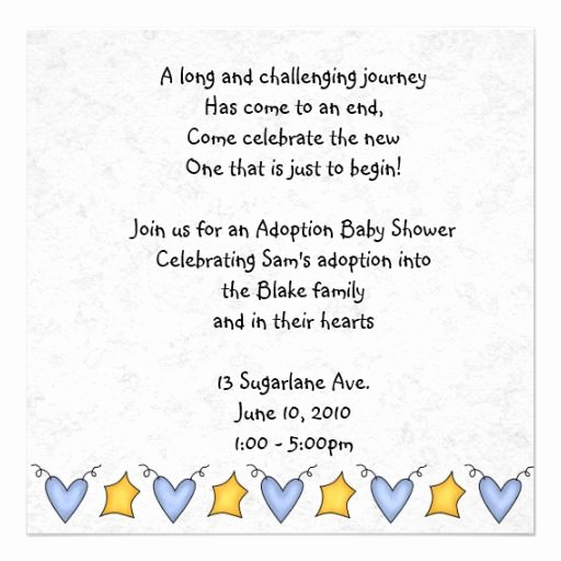 Adoption Baby Shower Invitation Wording Lovely Adoption Shower Invitation