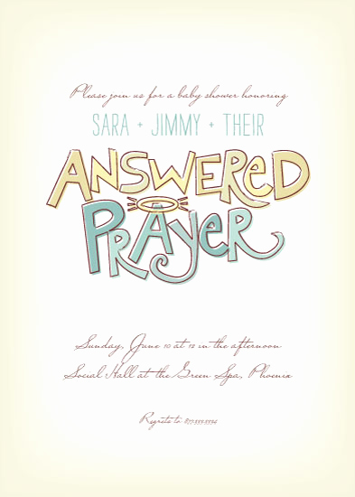Adoption Baby Shower Invitation Wording Lovely Baby Shower Invitations Answered Prayer at Minted