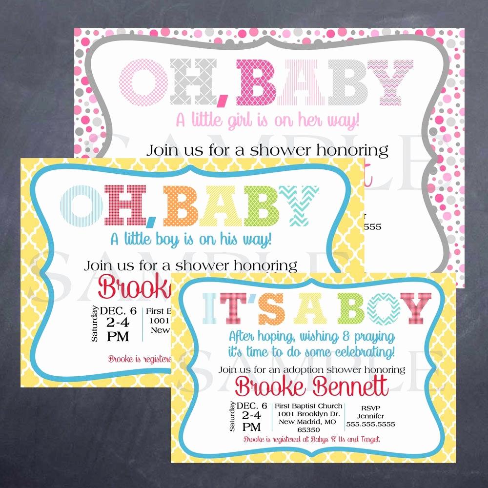 Adoption Baby Shower Invitation Wording Luxury Printable Baby or Adoption Shower Invitation by Silversdesign