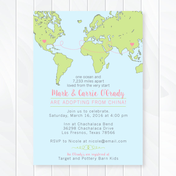 Adoption Baby Shower Invitation Wording New International Adoption Baby Shower Invitation Custom