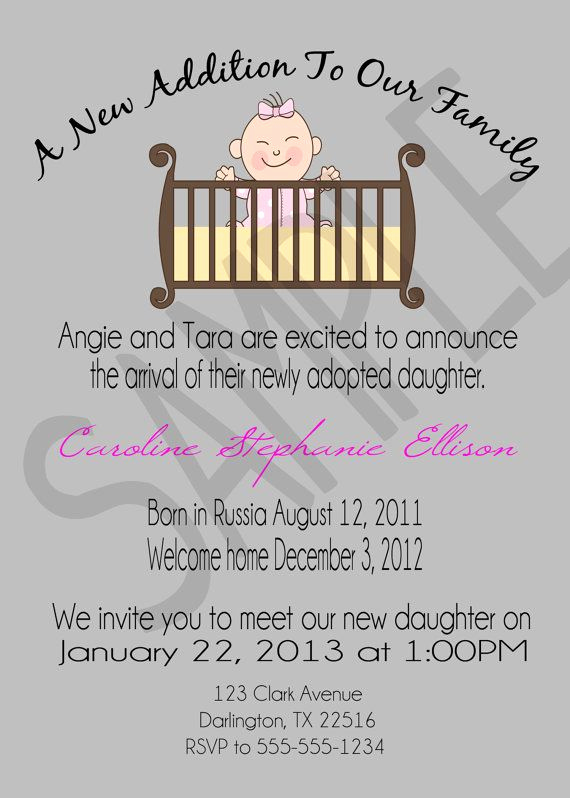 Adoption Shower Invitation Wording Beautiful Adoption Announcement Open House Invitation by