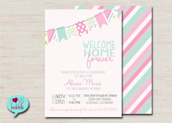 Adoption Shower Invitation Wording Beautiful Baby Girl Shower Adoption Invitation Pink Mint Printable