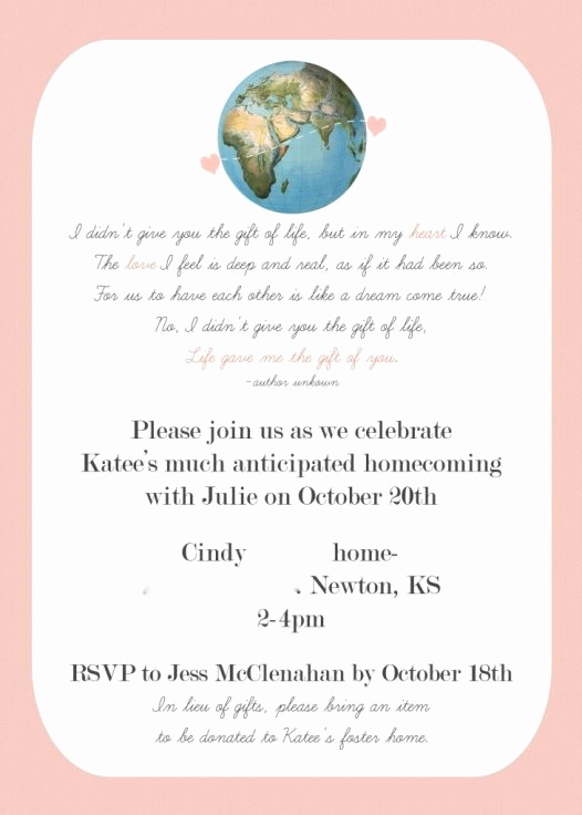 Adoption Shower Invitation Wording Fresh Invitation for Globes and Paper Airplane themed Adoption