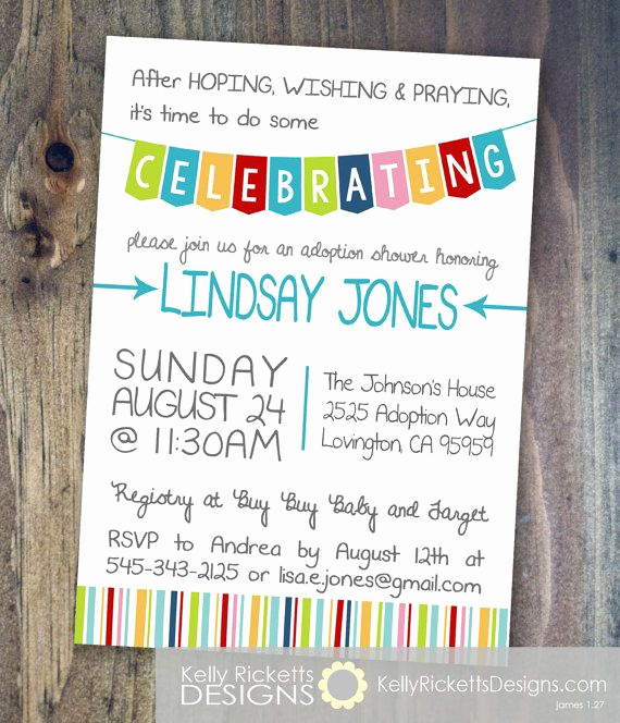 Adoption Shower Invitation Wording Lovely Celebrate Adoption Invitation Shower Party or