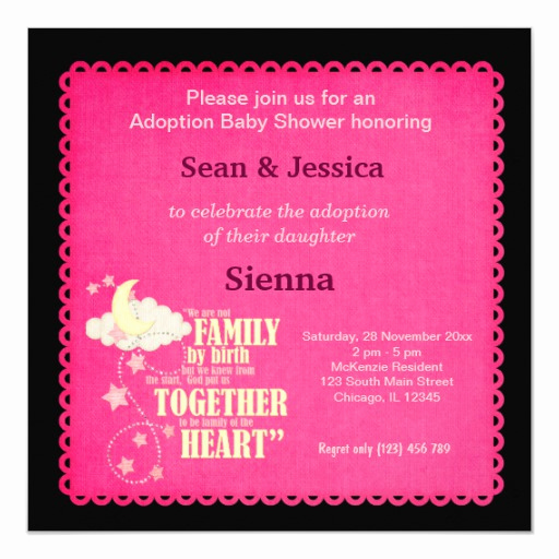 Adoption Shower Invitation Wording Unique Adoption Baby Shower Girl Invitation