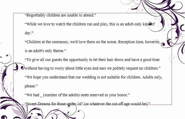 Adults Only Wedding Invitation Wording Fresh Invitation Wording for No Children before the Wedding