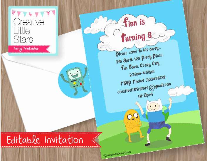 Adventure Time the Invitation Beautiful Printable Adventure Time Inspired Invitation Creative