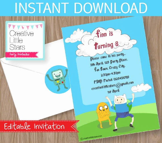 Adventure Time the Invitation Fresh Adventure Time Invitation Diy Printable Kit Instant