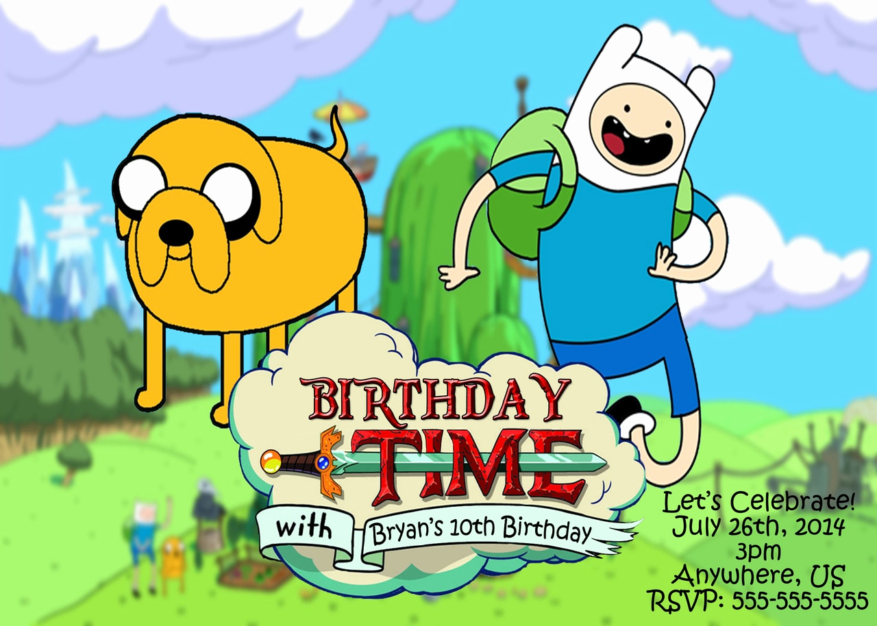 Adventure Time the Invitation Lovely Adventure Time Birthday Personalized Invitations
