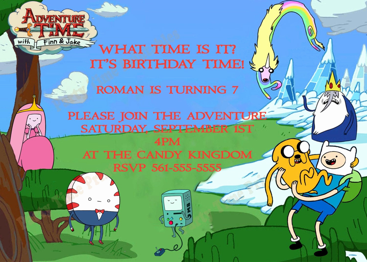 Adventure Time the Invitation Lovely Items Similar to Adventure Time Party Invitations