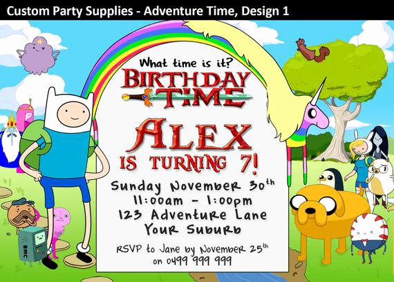 Adventure Time the Invitation Luxury Adventure Time Birthday Party Invitations by Custompartyinvite