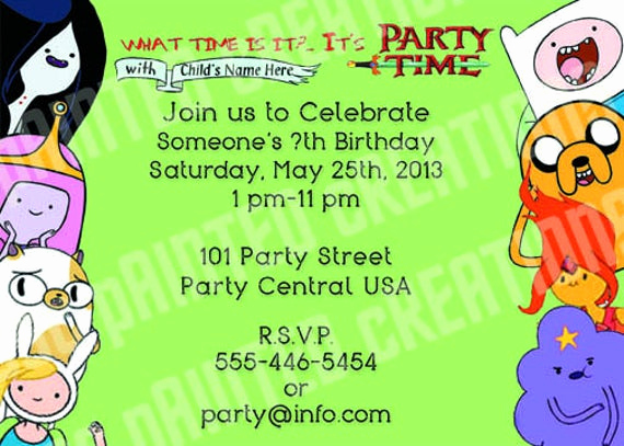 Adventure Time the Invitation Luxury Items Similar to Adventure Time Birthday Invitations W