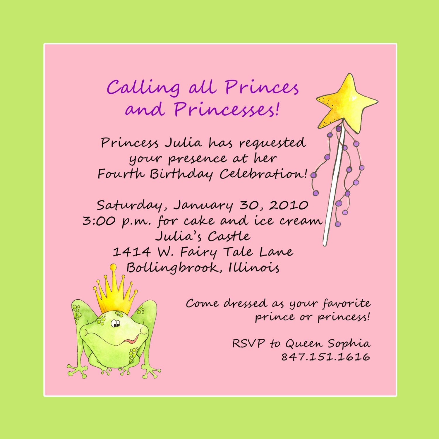 After Party Invitation Wording Awesome Princess theme Birthday Party Invitation Custom Wording