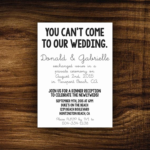 After Party Invitation Wording Beautiful Reception after Eloping Invitations Cobypic